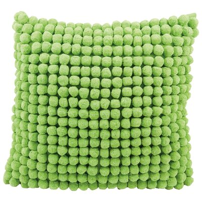Janik Pom Pom 100% Cotton Throw Pillow Color: Green