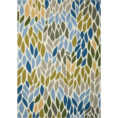 Cadet Blue/Brown Indoor/Outdoor Area Rug Rug Size: 44 x 63