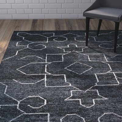 Aracely Hand Woven Charcoal/Ivory Area Rug Rug Size: Rectangle 4 x 6