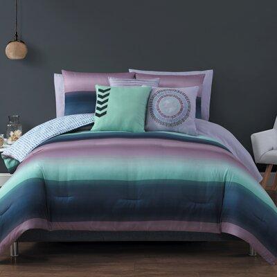 Avans 10 Piece Reversible Bed in a Bag Set Size: King, Color: Navy