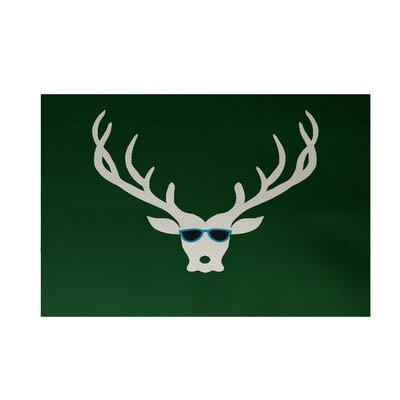 Aurigae Decorative Holiday Print Dark Green Indoor/Outdoor Area Rug Rug Size: 4 x 6
