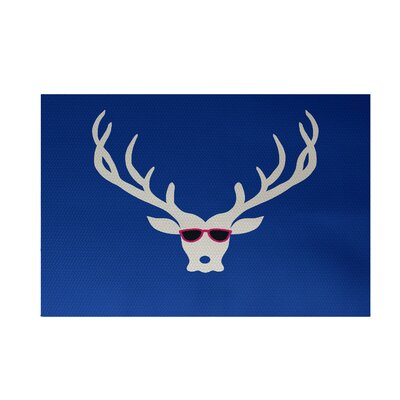 Aurigae Decorative Holiday Print Royal Blue Indoor/Outdoor Area Rug Rug Size: 3 x 5
