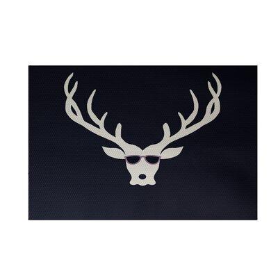 Aurigae Decorative Holiday Print Navy Indoor/Outdoor Area Rug Rug Size: 4 x 6