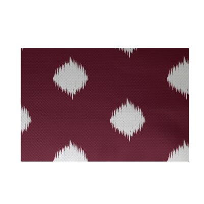 Balam Decorative Holiday Ikat Print Cranberry Burgundy Indoor/Outdoor Area Rug Rug Size: 3 x 5
