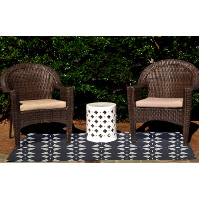 Seth Geometric Print Navy Blue Indoor/Outdoor Area Rug Rug Size: 4 x 6