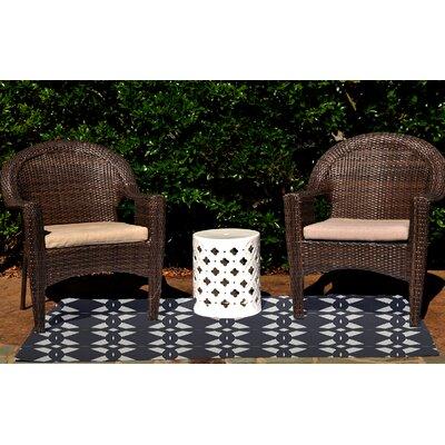 Seth Geometric Print Navy Blue Indoor/Outdoor Area Rug Rug Size: 3 x 5