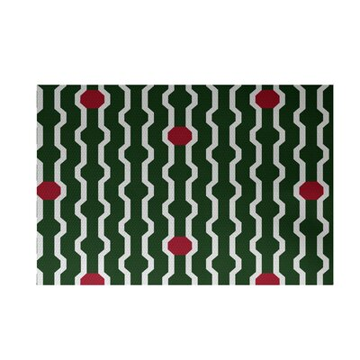 Severt Decorative Holiday Geometric Print Dark Green Indoor/Outdoor Area Rug Rug Size: 4 x 6