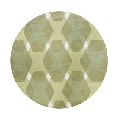 Diamond Hand-Loomed Green/White Area Rug Rug Size: Round 4