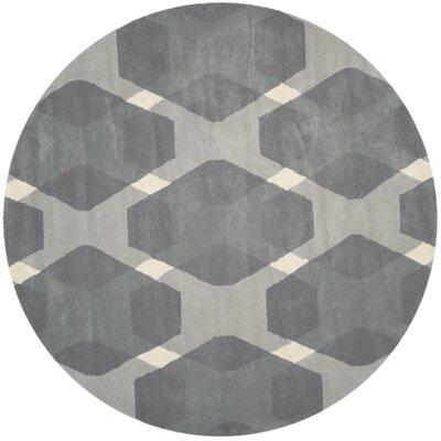 Diamond Hand-Loomed Gray Area Rug Rug Size: Round 4