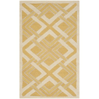 Lattice Hand-Tufted Gold/Ivory Area Rug Rug Size: 4 x 6