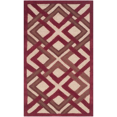 Lattice Hand-Tufted Ivory/Red Area Rug Rug Size: 9 x 12