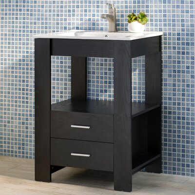 Callaway 24 Single Bathroom Vanity Set Base Finish: Black