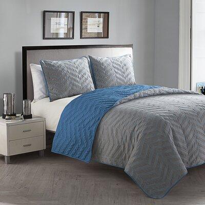 Borunda 3 Piece Embroidered Quilt Set Size: Queen, Color: Stone / Blue