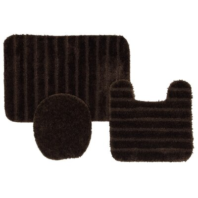 Brockley 3 Piece Bath Rug Set Color: Chocolate