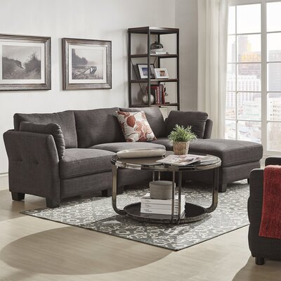 Alkmene Reversible Sectional Upholstery: Dark Gray