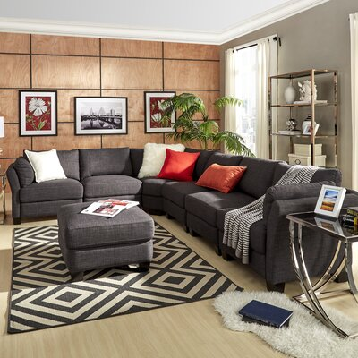 Alkmene Reversible Chaise Sectional Upholstery: Dark Gray