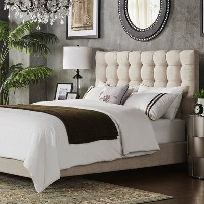 Cacho Upholstered Panel Headboard Upholstery: Beige, Size: King
