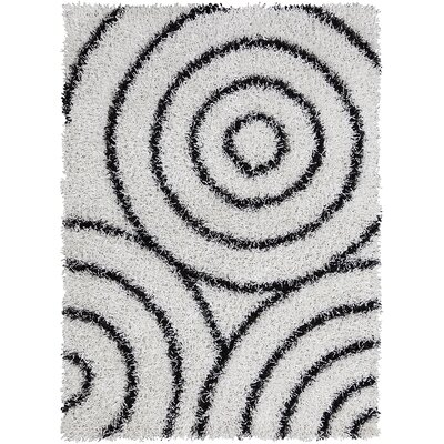 Caley White/Black Area Rug Rug Size: 5 x 7