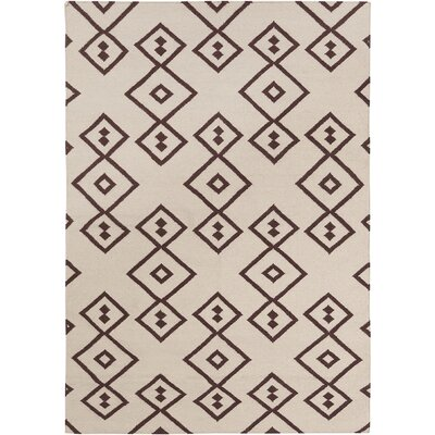 Signe Flat Weaved Rectangle Reversible Wool Brown/Cream Area Rug