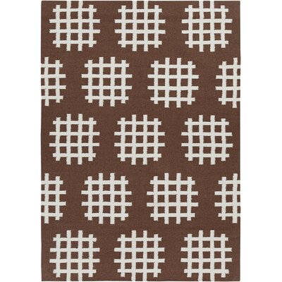 Cael Brown/White Abstract Rug Rug Size: 5 x 7