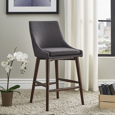 Blaisdell Counter Height Arm Chair Upholstery: Dark Gray