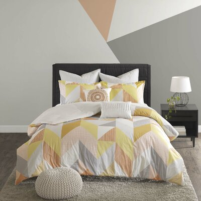 Horta 7 Piece Cotton Duvet Cover Set Size: Full/Queen, Color: Orange
