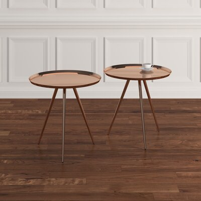 Calle 2 Piece Nesting Tables Finish: Brushed Copper