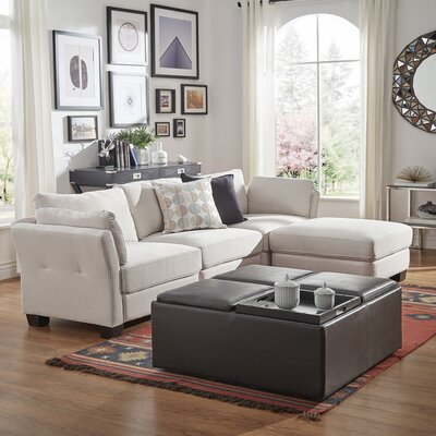 Alkmene Reversible Chaise Sectional Upholstery: White
