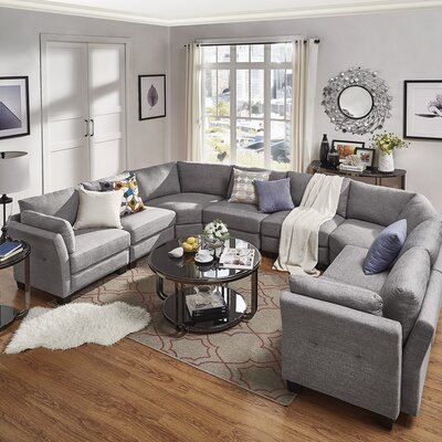 Alkmene Sectional Upholstery: Gray