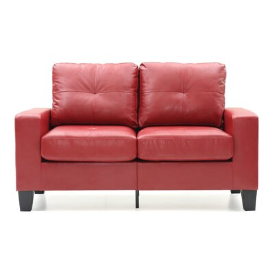 Modern Loveseat Finish: Red