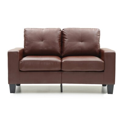 Modern Loveseat Finish: Brown