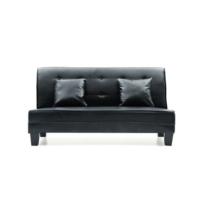 Melantha Settee Upholstery: Black Faux Leather