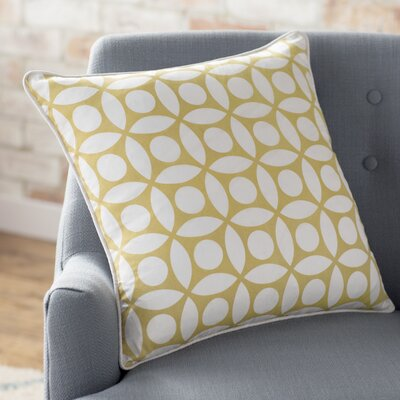 Blasko Geometric Throw Pillow Color: Off White / Yellow