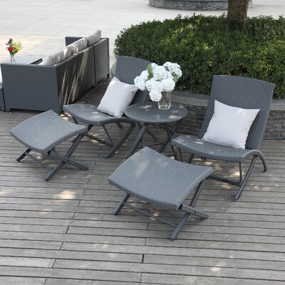 Lachesis 5 Piece Seating Group with Back Pillows Fabric: Gray
