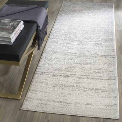 Busick Ivory/Silver Area Rug Rug Size: Runner 26 x 8