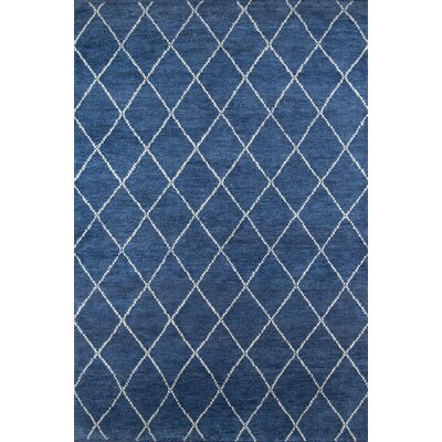 Brice Hand-Knotted Navy Area Rug Rug Size: Rectangle 36 x 56