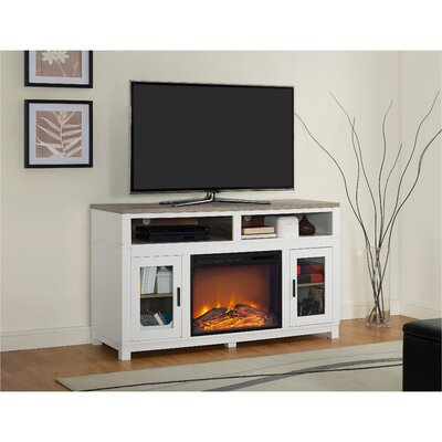Callowhill TV Stand with Electric Fireplace Finish: White