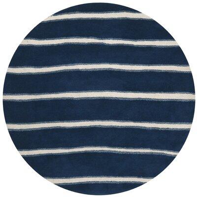 Martha Stewart Wrought Iron Navy Area Rug Rug Size: Round 6