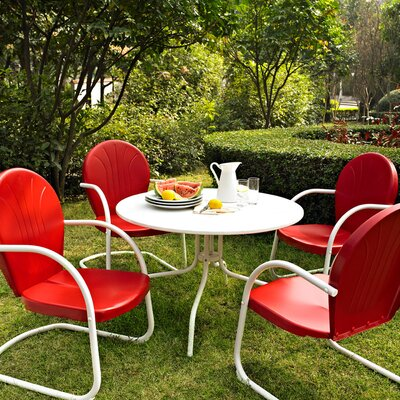 Timothea 5 Piece Dining Set Chair Finish: Red