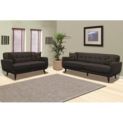 Calla Sofa and Loveseat Set Upholstery: Charcoal