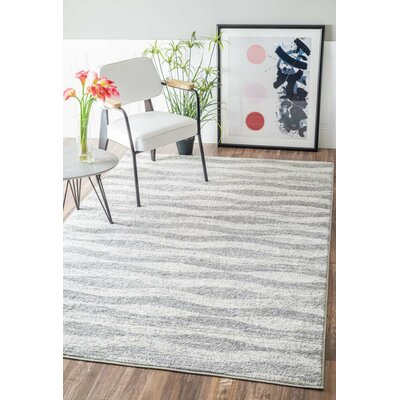 Lada Abstract Waves Gray/White Area Rug Rug Size: Rectangle 76 x 96
