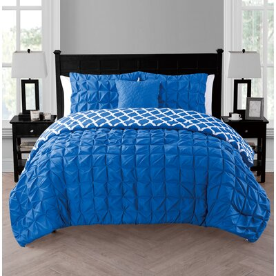 Slaton Reversible Comforter Set Color: Royal blue, Size: Twin/Twin XL