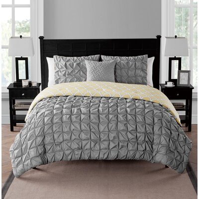 Sherrodsville Reversible Comforter Set Color: Charcoal, Size: King