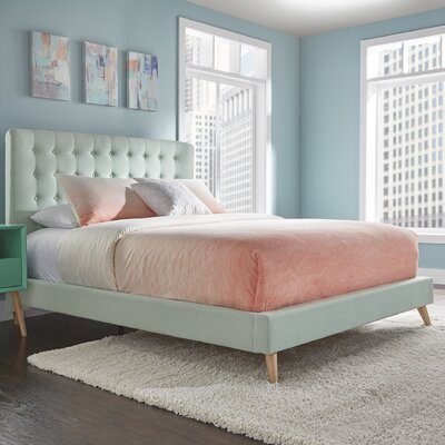 Blakeman Upholstered Panel Bed Finish: Hazy Blue, Size: Queen