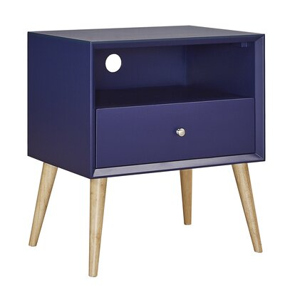 Blakeney End Table With Storage Color: Twilight Blue