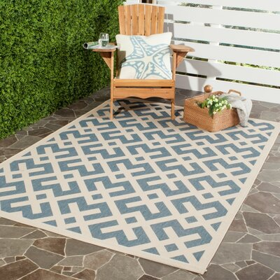 Quinlan Blue Indoor/Outdoor Area Rug Rug Size: Rectangle 2 x 37