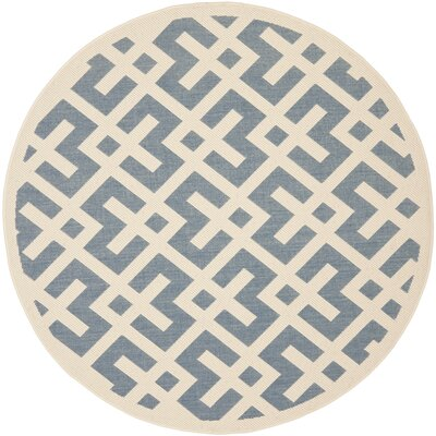 Quinlan Blue Indoor/Outdoor Area Rug Rug Size: Round 53