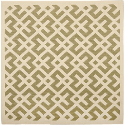 Quinlan Green / Bone Outdoor Rug Rug Size: Square 4