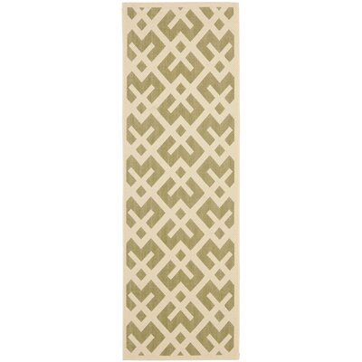 Quinlan Green / Bone Outdoor Rug Rug Size: Runner 24 x 67