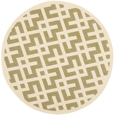 Quinlan Green / Bone Outdoor Rug Rug Size: Round 53